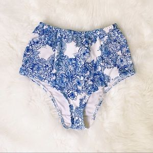 American Apparel High Waisted Floral Swim Bottoms